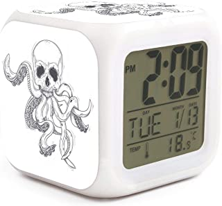 Cool Skull White Octopus Alarm Clock Displays Time Date and Temperature Soft Nightlight for Kids Home Office Bedroom Heavy Sleepers