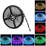 LED Light Strip, Nexlux 32.8ft Non-Waterproof 5050 SMD RGB Single LED Flexible Strip Light Black PCB Board Color Changing Decoration Lighting (No Remote and Power Adapter)