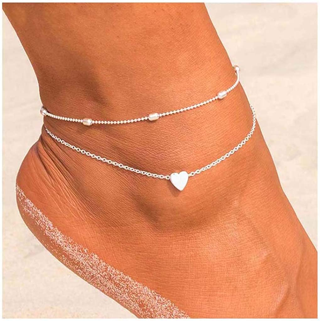 Yalice Double Anklets Heart Ankle Bracelet Chain Foot W favorite trust Ball for