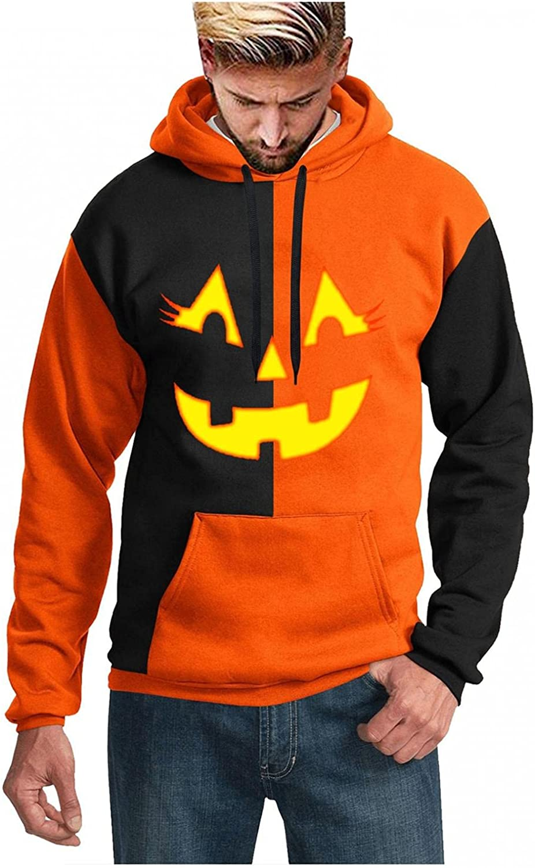 XUNFUN Men's Fashion Hoodies Funny Halloween Pumpkin Face Print Casual Pullover Pocket Drawstring Hooded Sweatshirts Blouse