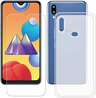TTJ Genomskinligt skal för Samsung Galaxy M01S + HD pansarglas, mobiltelefonskal silikon skyddsskal TPU Case mobilväska – ...