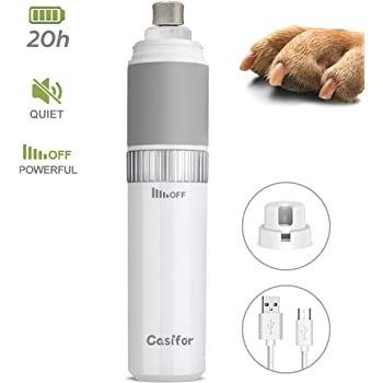 Casifor Dog Nail Grinder and Clippers Quiet with 20h Working Time Professional Pet Nail Trimmer Stepless Speed Regulation Pet Nail Grinder Eelectric Nail File for Large Medium Small Dogs and Cats