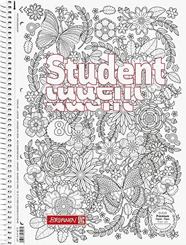 Brunnen 106742701 Notizblock/Collegeblock Student Zenart Motiv Garten, A4, liniert Lineatur 27, 90 g/m², 80 Blatt