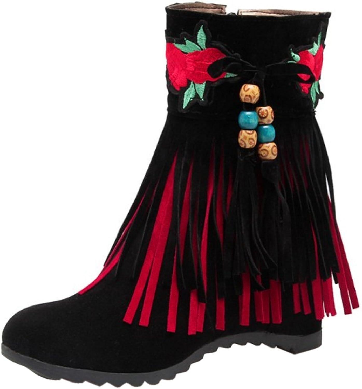 TAOFFEN Women Boots Zipper Hidden Heel