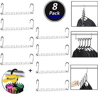HUSTON LOWELL Space Saving Hangers Wonder Metal Clothes Hangers Stainless Steel 6X2 Slots Magic Hanger Cascading Hanger Updated Hook Design Closet Organizer Hanger+Rotating Ties Scarf Hanger