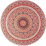 Amlaiworld Ron de Serviette de Plage, Maillot Tapisserie Hippie Ronde Plage de Bohème Throw Serviette Roundie Mandala Tapis de Yoga (148cm, Orange)