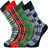 Mysocks Hombres tobillo calcetines de tartán 4 pares