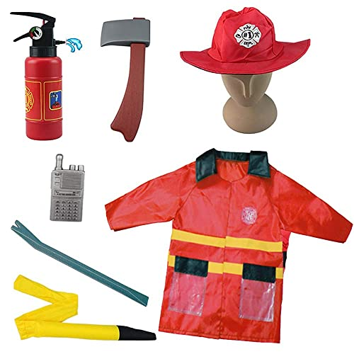 Pretend Play Other Occupations Toys Hot Sale 12pcs Fire Role Play Costume Dress-up Childrens Play House Toy Professional Play Suit Fire Fighter Boy Girl Toy For Children