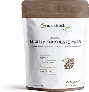 Nurished Mighty Chocolate Milk - Kids Daily Protein Powder Boosted with 2 Billion Probiotics and Organic Spinach Leaves - ...