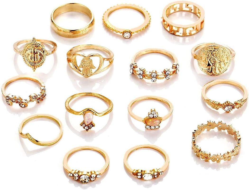 Yokawe Boho Gem Joint Knuckle Ring Set Gold Vintage Carved Flower Stacking Midi Finger Rings Crystal Ring Sets for Women and Girls (15 PCS)