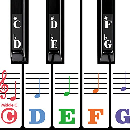 Piano Keyboard Stickers for 88/61/54/49/37 Key. Super Large Bold Colorful Letter. Good Tool for kids Learning. Multi-...