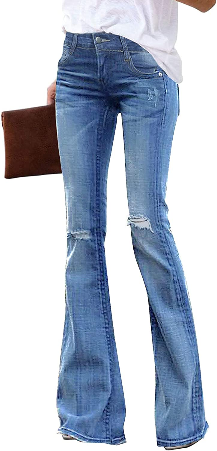 luvamia Women's High Waisted Flare Bell Bottom Jeans Ripped Wide Leg Denim Pants