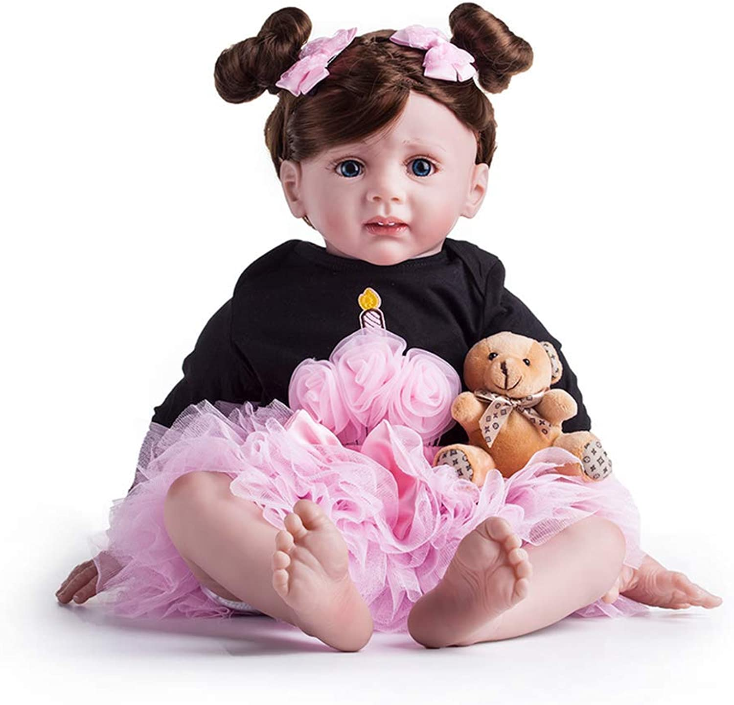 Minsong 60cm Baby Princess Girl Doll,Cloth Cotton Body Silicone Head and Limbs Realistic Baby Doll with Flower Hairstyle Princsee Dress (bluee eyes)