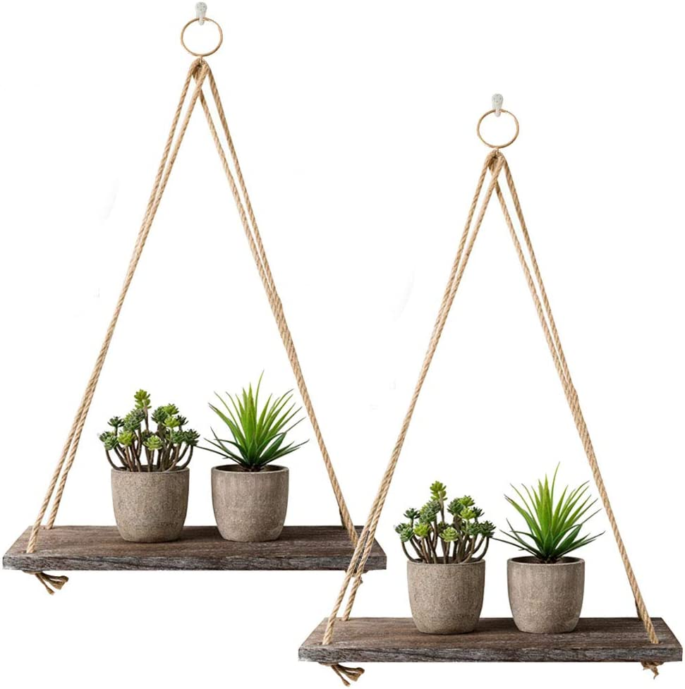 Very Today's only popular Rustic Shelf 2 Packs Wooden Floating Ha String Rope with Shelves