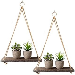 Estantería rústica con 2 unidades de estantes flotantes de madera con cuerda para colgar estantes flotantes rústicos de ma...