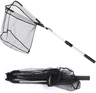 Steinppo Folding Fishing Landing Net with Telescoping Pole - Fly Landing Nets, Fresh Water, Safe Fish Catching or Releasing,Bass Trout Durable Nylon Mesh