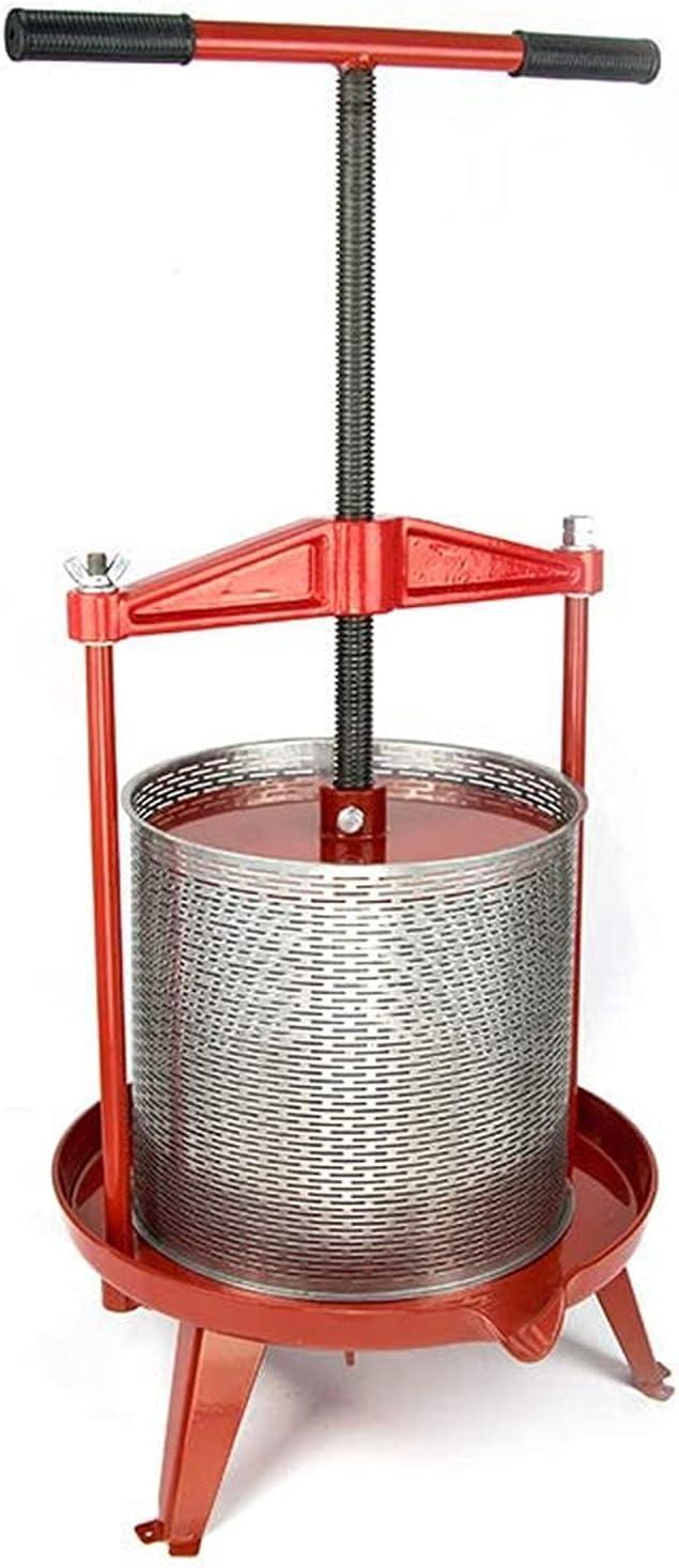 WANYE 3.69/2.38 Galones (14 L / 9 L) Prensa para Vino Y Frutas De Acero Inoxidable con Vigas Cruzadas De Servicio Pesado 3.69 Gallon