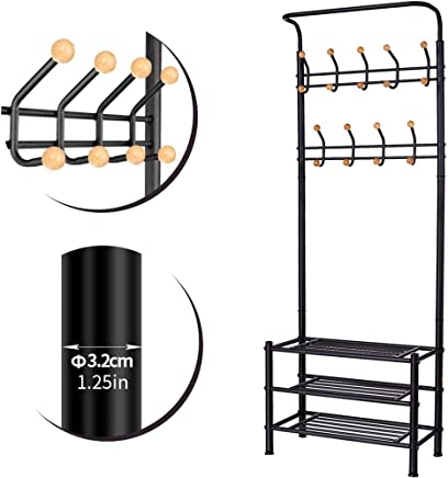 Brian & DANY Metal Entryway Organizer with 18 Solid Wood Hooks,  3-Tier Shoe Bench,  Multi-Purpose Clothes Coat Stand Shoes Rack,  Black