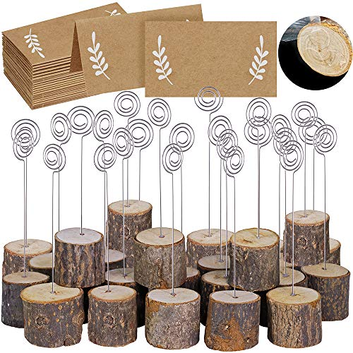 30 Pcs Rustic Wood Place Card Holders with Swirl Wire Wooden Bark Memo...