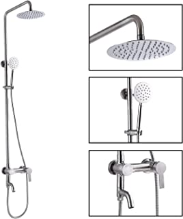 Shower Faucet Sets SUS 304 Stainless Steel Rain Shower System 3 Triple Function with 8