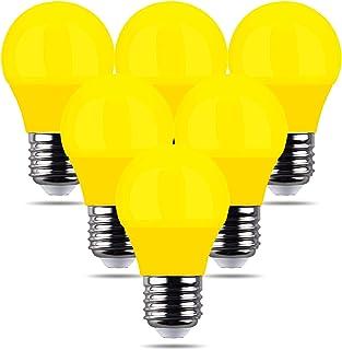 REPSN® 6 x LED 4W Amarillo E27 Mini bombilla de golf decorativa de color verde para decoración de interiores y exteriores para el hogar, Halloween, Navidad, árbol