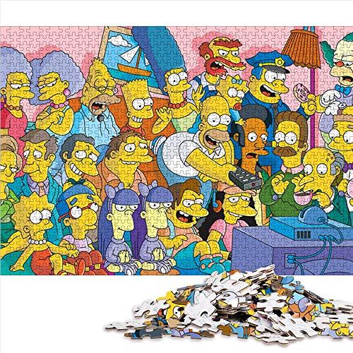 Visionpz Puzzle 1000 pièces pour Enfants Adultes Les Simpsons Thèmes Puzzle Sets Animation Puzzle Jeux de Famille à Grande échelle, Jouets éducatifs, Cadeaux pour la Famille et Les Amis 52x38cm