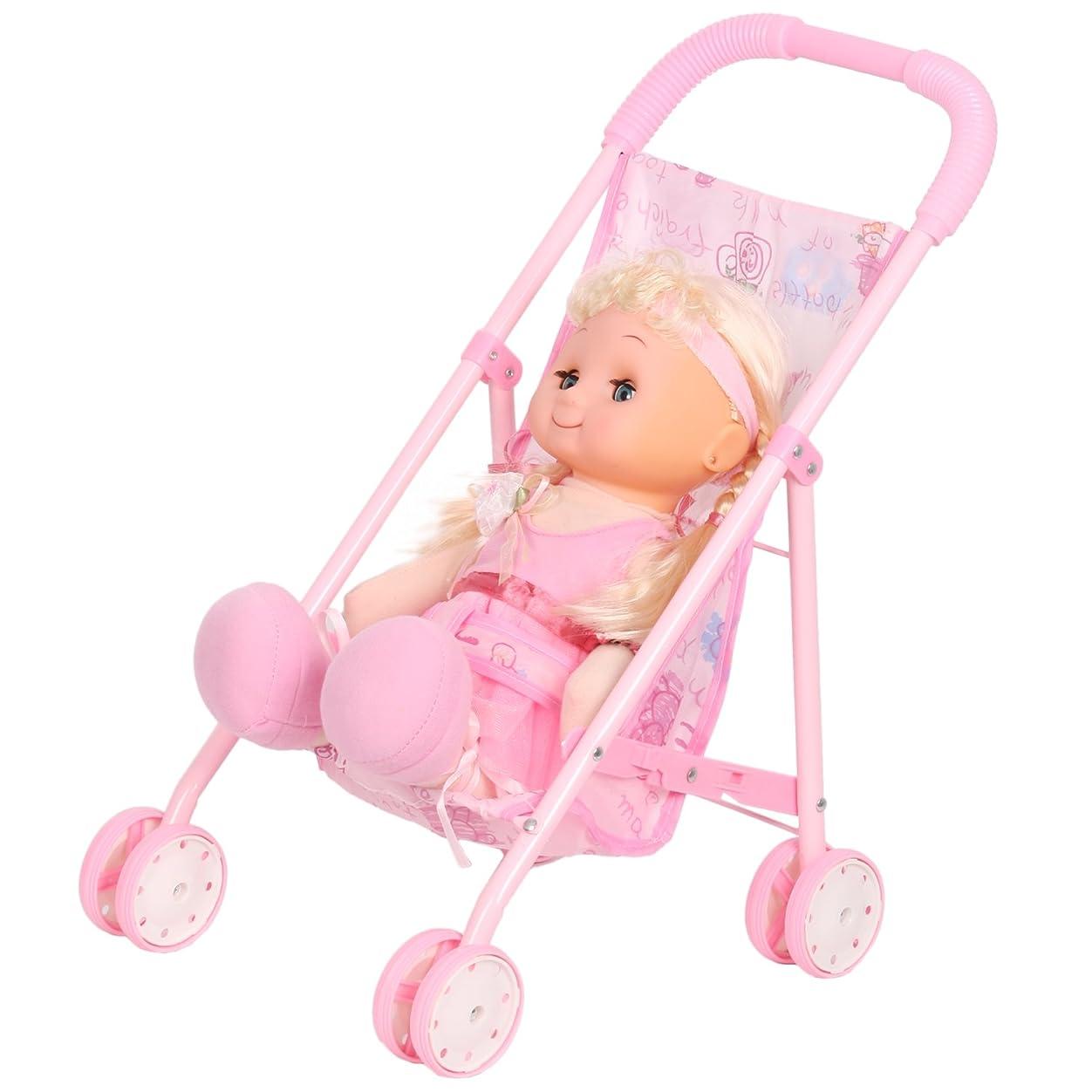 タンカーベストネクタイ人形用 ベビーカー バギー お世話パーツ かわいい 乳母車 おもちゃ 鉄の枠 折り畳み式 女の子 プルトイ
