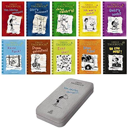 Gregs Tagebuch gebunden 10 So ein Mist + Bd. 1, 2, 3, 4, 5, 6, 7, 8, 9 + Federkästchen Von Idioten umzingelt! Gibt's Probleme? Jetzt reicht's! Ich war's nicht! Geht's noch? Keine Panik! Dumm gelaufen! Dumm gelaufen! Echt übel! Böse Falle!