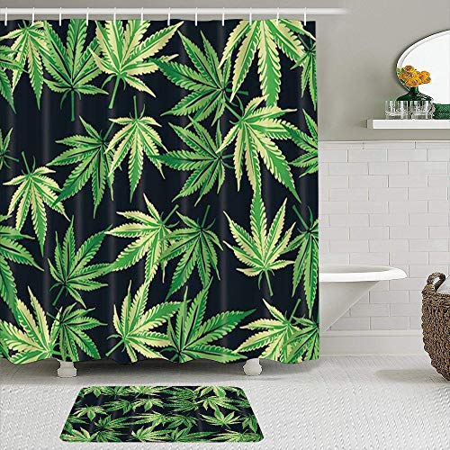 AIKIBELL Juego de Cortinas y tapetes de Ducha de Tela,Planta Cannabis Marihuana Hojas en Negro,Cortinas de baño repelentes al Agua con 12 Ganchos, alfombras Antideslizantes