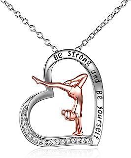 YFN Gimnastyka naszyjnik prezenty dla dziewcząt srebro wysokiej próby gimnastyka wisiorek w kształcie serca biżuteria dla ...