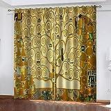 LHUTY Tende oscuranti con Occhielli Il Bacio di Klimt 2 x L117 x A138cm Termiche Isolanti Tende Oscuranti, Design Moderno, per Finestra, per Soggiorno, Camera, Balcone