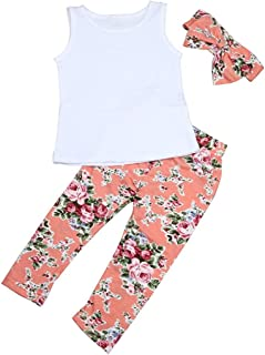 Clothing LONGRA 3pcs Kids Baby Girl's outfits Headband and Sleeveless T-Shirt Tank Top + Pants Clothing Set Summer Girls Clothes (Newborn – 5 Years)