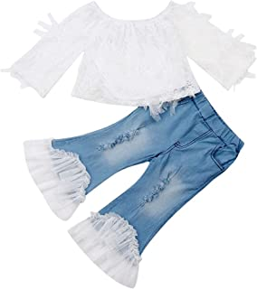 Toddler Kids Clothing Baby Girls Vest Tank Top Ripped Denim Shorts Skirts Outfits Clothes Set