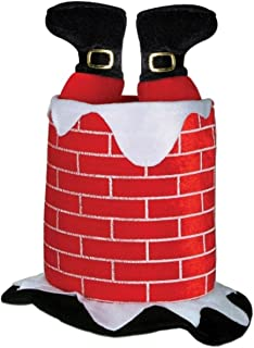 Pack of 6 Red, White and Black Plush Santa Claus in Chimney Hat - Adult Sized