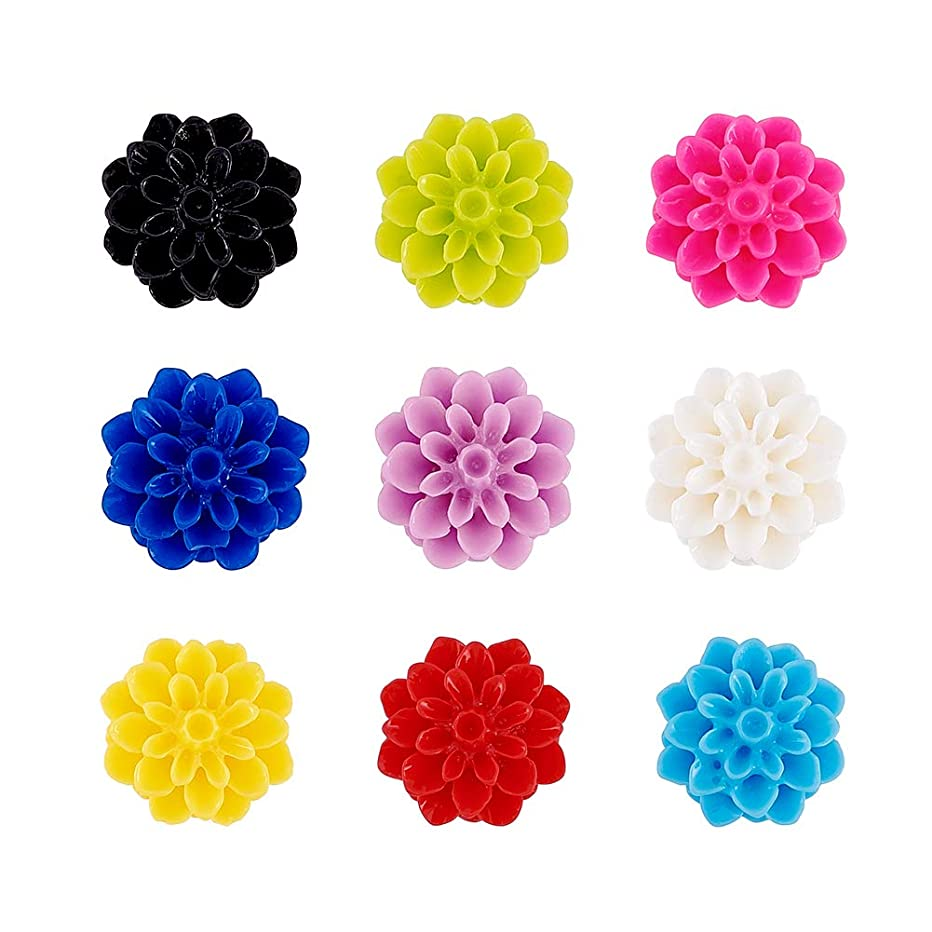 Craftdady 20Pcs Random Mixed Colors Flat Back Opaque Resin Flower Cabochons 15x6mm DIY Scrapbooking Embellishments Craft Jewelry Making Findings