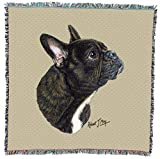 French Bulldog - Robert May - Lap Square Cotton Woven Blanket Throw - Made in The USA (54x54)