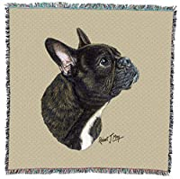 Pure Country 3381-LS French Bulldog Pet Blanket, Canine on Beige Background, 54 by 54-Inch by Pure Country