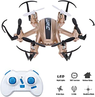 JJR/C H20 Mini Pocket Drone, 2.4G Nano RC Hexacopter, Headless Mode, 2.4G 4CH 6-Axis Gyro RTF UFO with 360 Degree Propeller Protector(Gold)