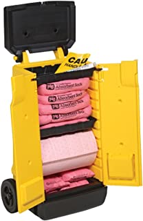 HazMat Spill Kit in High-Visibility Cart by New Pig, Absorbs Hazardous Chemicals - Acids, Bases & Unknowns, 14-Gal Absorbency, Wheeled Mobile Cart, KIT344