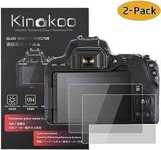 kinokoo Película de Vidrio Templado para Canon EOS 200D/Rebel SL2/250D/200DII/Rebel SL3 Crystal Clear Film Protector de Pantalla Canon 200D 250D sin Burbujas/antiarañazos (Paquete de 2)