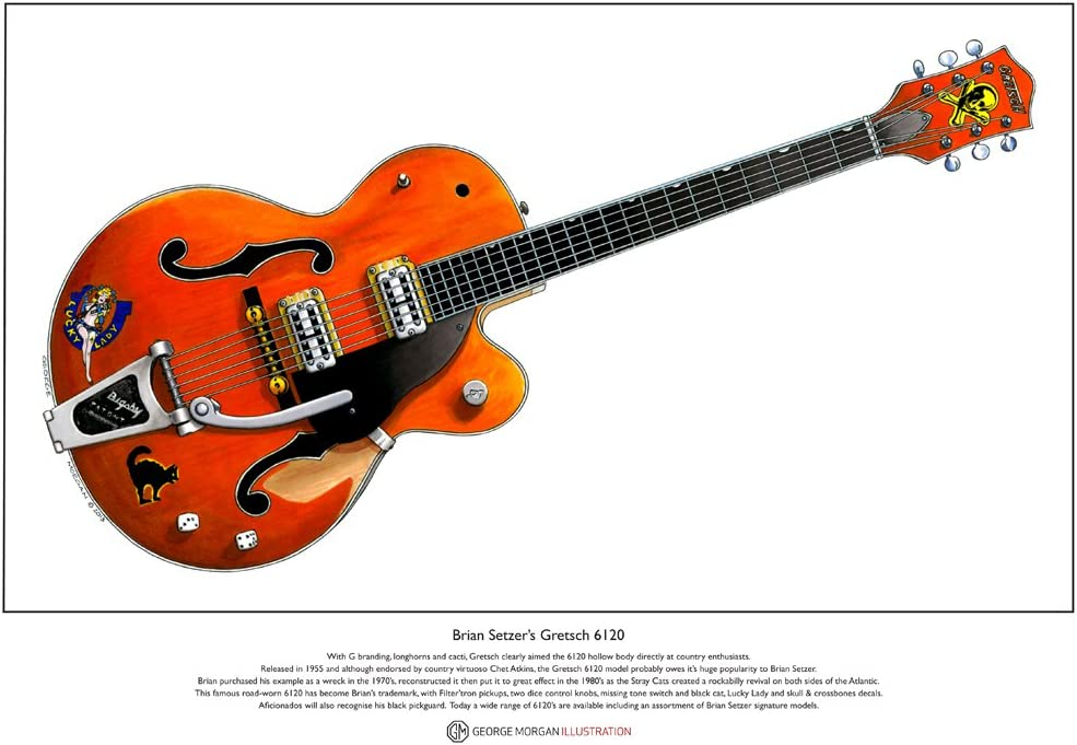 George Morgan Illustration Impresión Fino de Bella Arte. Gretsch 1959 Chet Atkins 6120 Guitarra de Brian Setzer - edición Limitada, tamaño A3