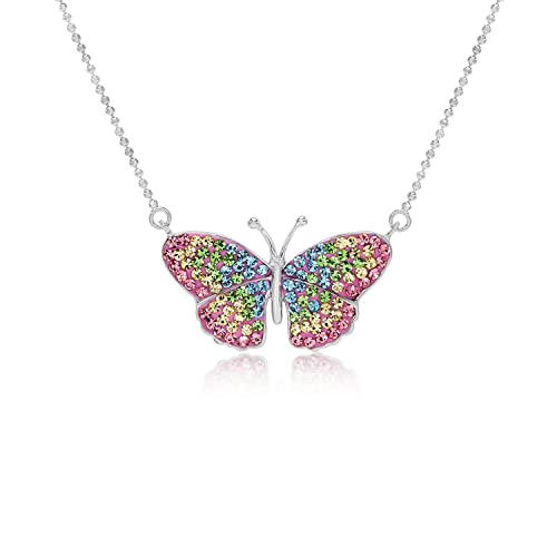 8d0c31b0911f06 Crystal Pastel Butterfly Fairy Pendant Necklace for Women & Girls, Never  Rust 925 Sterling Silver