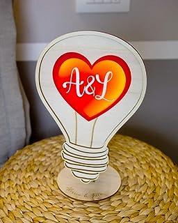 Lampada cuore da tavolo o da muro - idea regalo amore San Valentino personalizzata