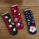 3 pares de calcetines de algodón de Navidad con diseño de cómic, para mujer, Papá Noel, feliz año, divertidos, transpirables, para mujeres (color : B Set)
