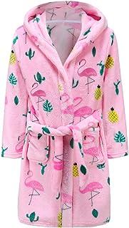 Kids Robe Soft Fleece Hooded Bathrobe Sleepwear for Girls Boys (Bright pink, 4T)