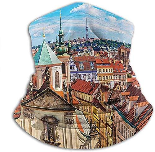 Lawenp Sciarpa per il viso Maschera per uomo Collezione di decorazioni di paesaggi urbani europei Personalità creativa Sciarpa personalizzata Vista panoramica estiva della città vecchia Praga con c