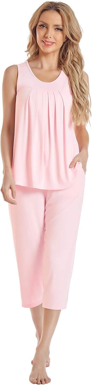 NACHILA Women's Bamboo Pajama Set Capri Pants Sleepwear Pleated Tank Top Lounge Set with Pockets S-XX Large