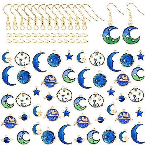 144 Piezas Encantos de Esmalte de Estrella Luna Azul Chapados en Oro Ganchos de Pendientes y Anillos de Salto Abiertos para Aretes Collar Pulsera de Bricolaje Fabricación de Joyas, 8 Estilos