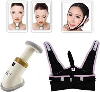 Neckline Slimmer Facial Exercise and Toning Kit, Jaw Line Exercise V Line Facial Chin Neck Mask for Double Chin Remover, Face Lift& Face Slimmer, Portable Face Neck Toning Massager System for Women