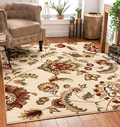 "Well Woven Grand Garden Ivory Floral Oriental Modern Formal Area Rug 8x10 8x11 (7'10"" x 9'10"") Easy to Clean Stain Fade Resistant Shed Free Traditional Transitional Soft Living Dining Room Rug"